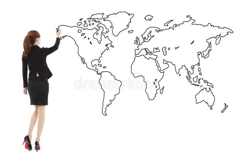 Condizione della donna di affari e mappa globale del disegno fotografia stock libera da diritti