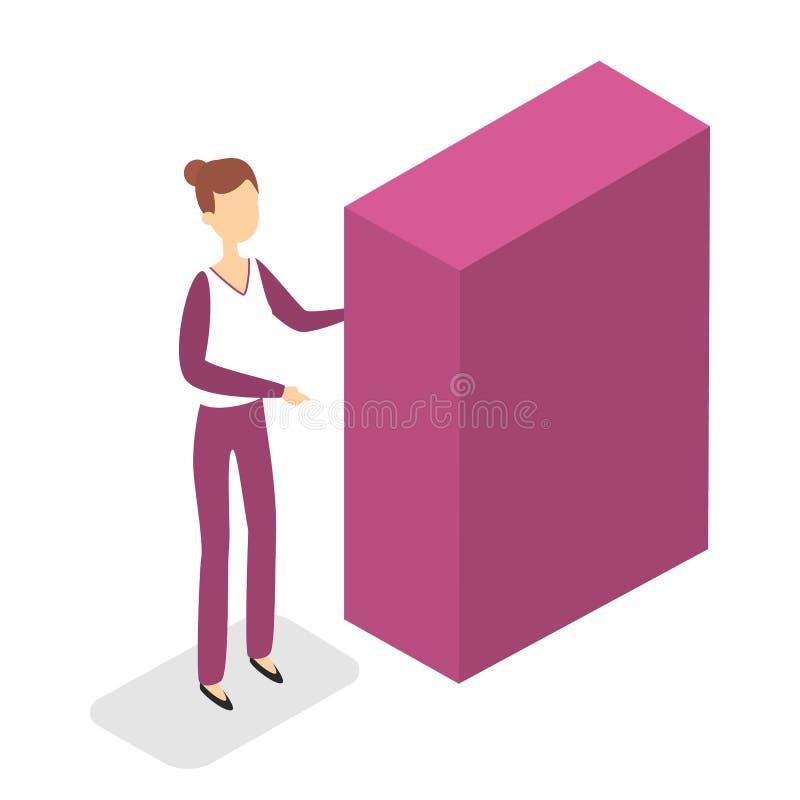 Condizione della donna nella sala al guardaroba illustrazione di stock