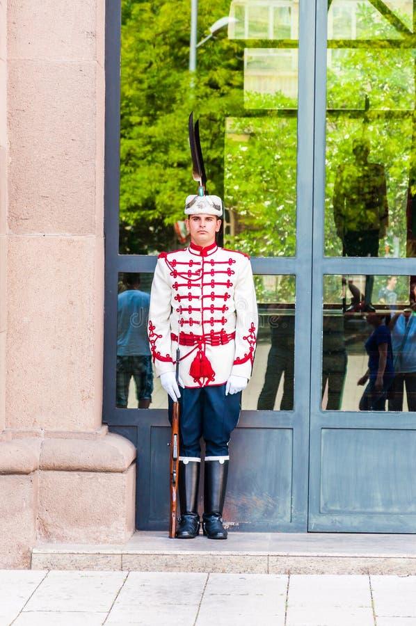 Condizione della guardia vicino all'entrata L'unità delle protezioni nazionali è puramente cerimoniale, come la sicurezza del pre immagini stock libere da diritti