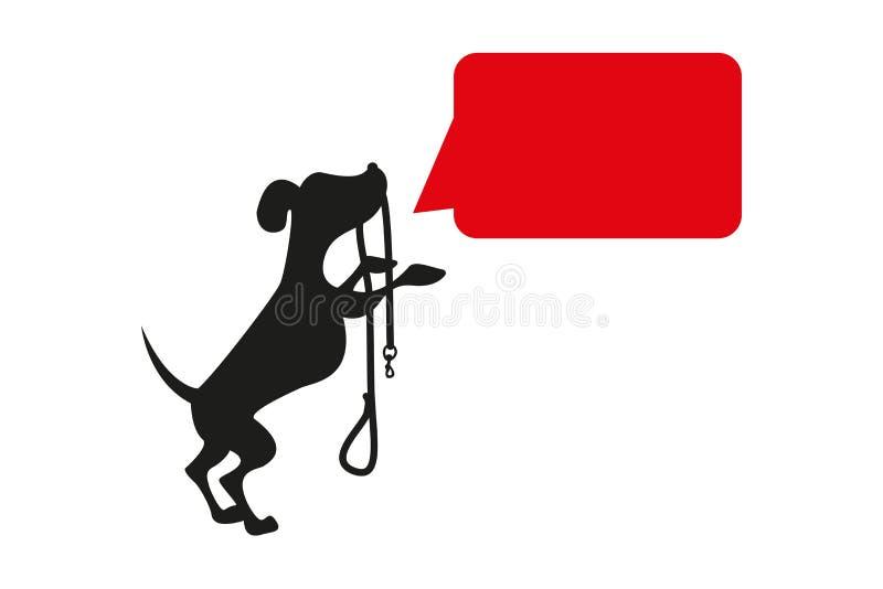 Condizione della siluetta del cane nero sulle gambe posteriori con un guinzaglio nero nella bocca immagini stock