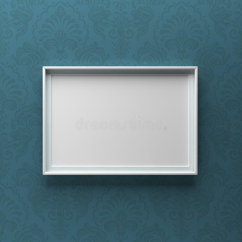 Condizione elegante della cornice sulla parete con il modello blu immagine stock