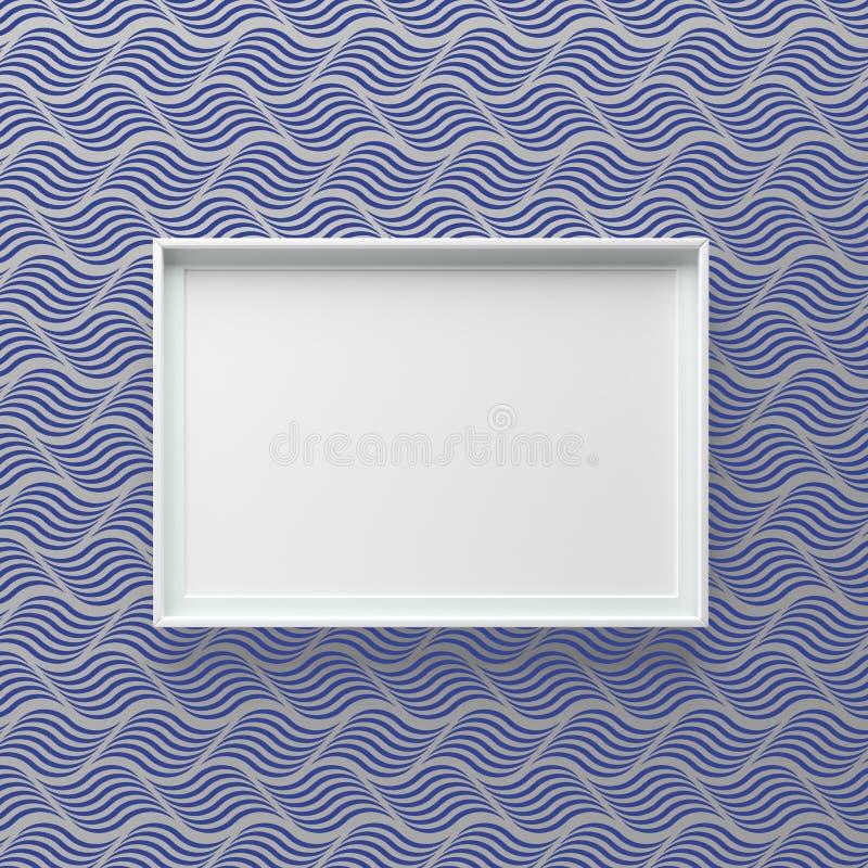Condizione elegante della cornice sulla parete con il modello di onda immagine stock