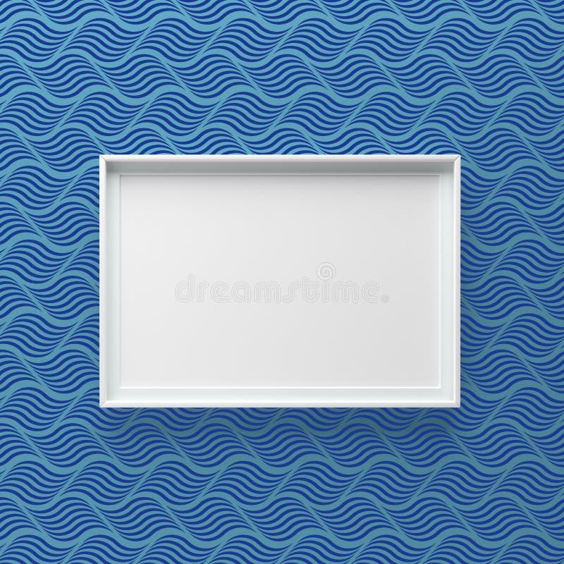 Condizione elegante della cornice sulla parete con il modello di onda scuro fotografia stock libera da diritti