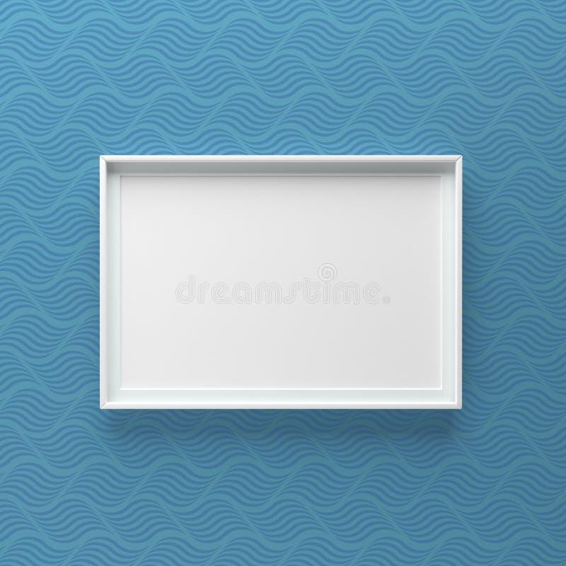 Condizione elegante della cornice sulla parete con il modello di onda scuro immagine stock libera da diritti
