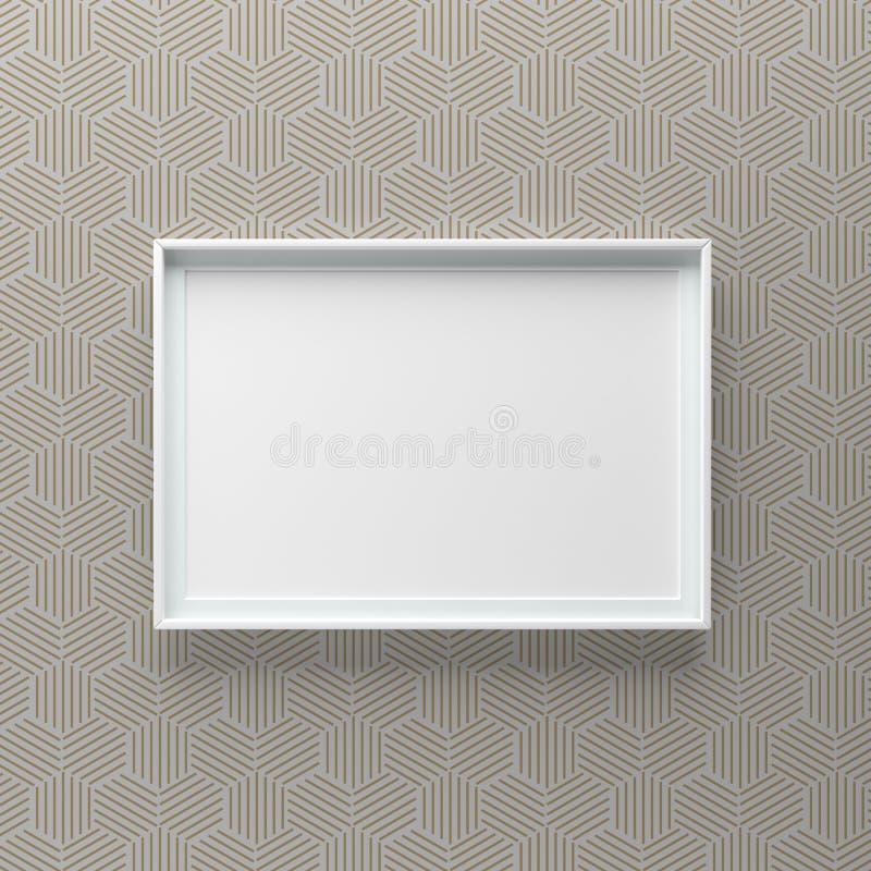Condizione elegante della cornice sulla parete con le linee esagonali modello fotografie stock libere da diritti