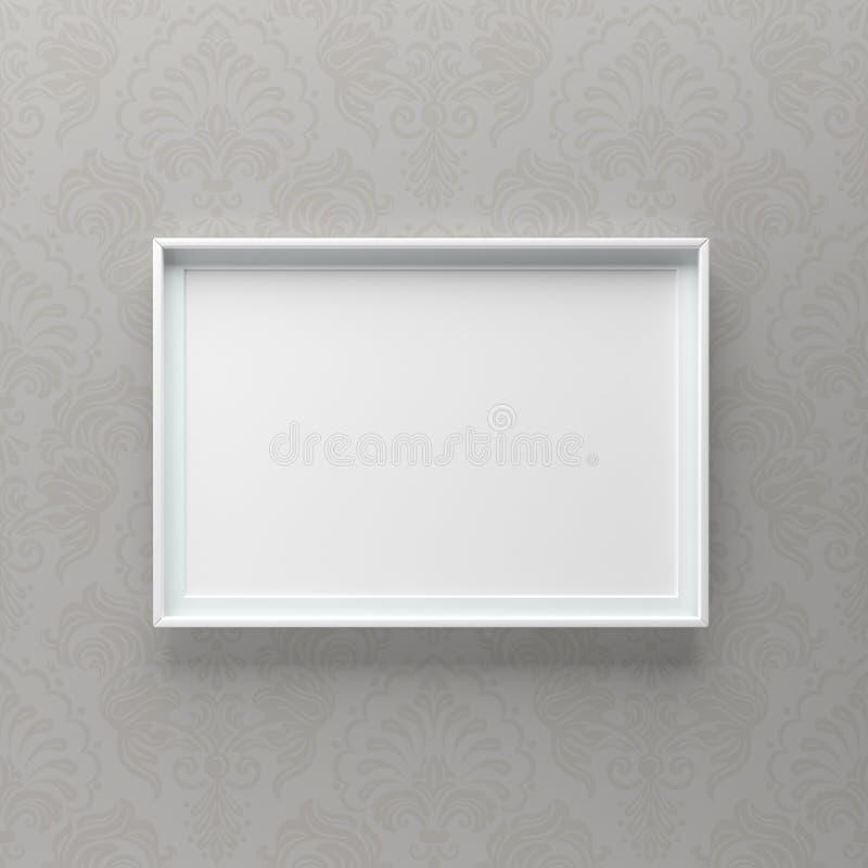 Condizione elegante della cornice sulla parete grigia con il modello fotografie stock