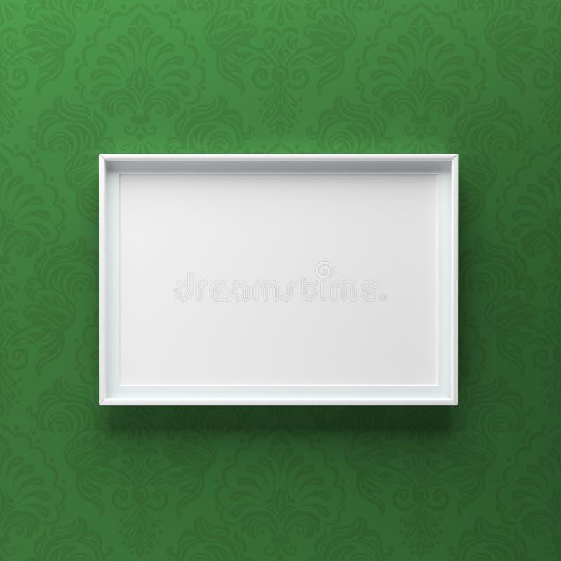 Condizione elegante della cornice sulla parete grigia con il modello verde fotografie stock libere da diritti