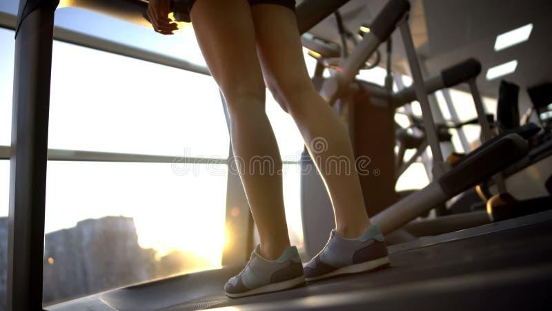 Condizione femminile sulla macchina della pedana mobile in palestra ed alba godere prima dell'allenamento immagini stock