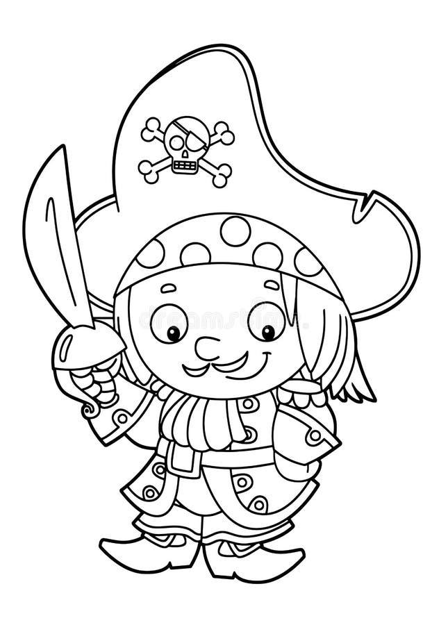 Condizione medievale sorridente felice del pirata del fumetto con il grande tasso della spada che sta con la coloritura di colori illustrazione di stock