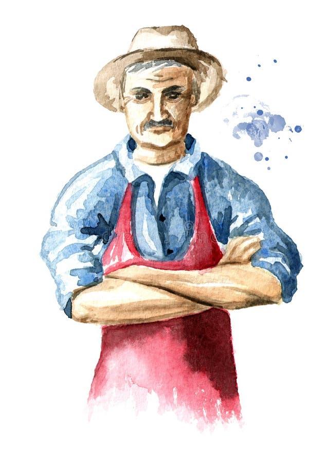 Condizione senior dell'agricoltore con le armi attraversate Illustrazione disegnata a mano dell'acquerello, isolata su fondo bian illustrazione di stock