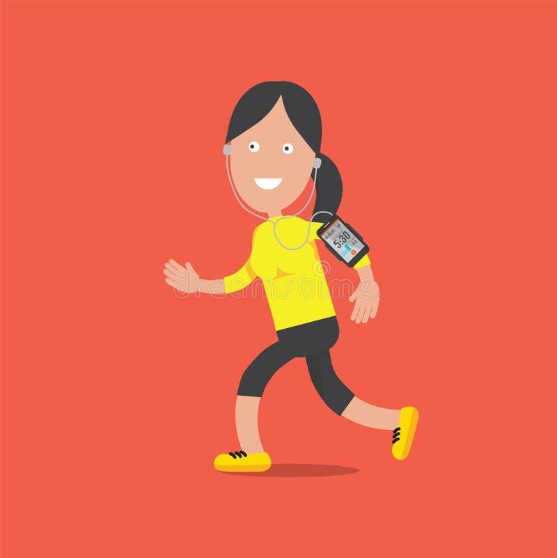 Condizione sorridente amichevole e funzionamento del carattere femminile di sport con Smartphone illustrazione di stock
