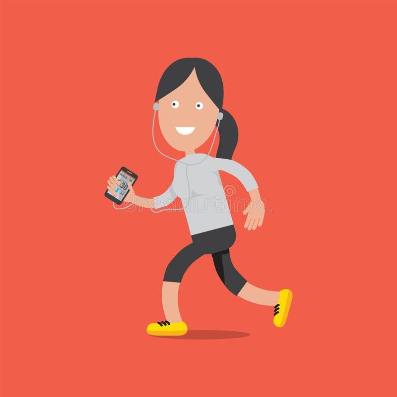 Condizione sorridente amichevole e funzionamento del carattere femminile di sport con Smartphone illustrazione vettoriale