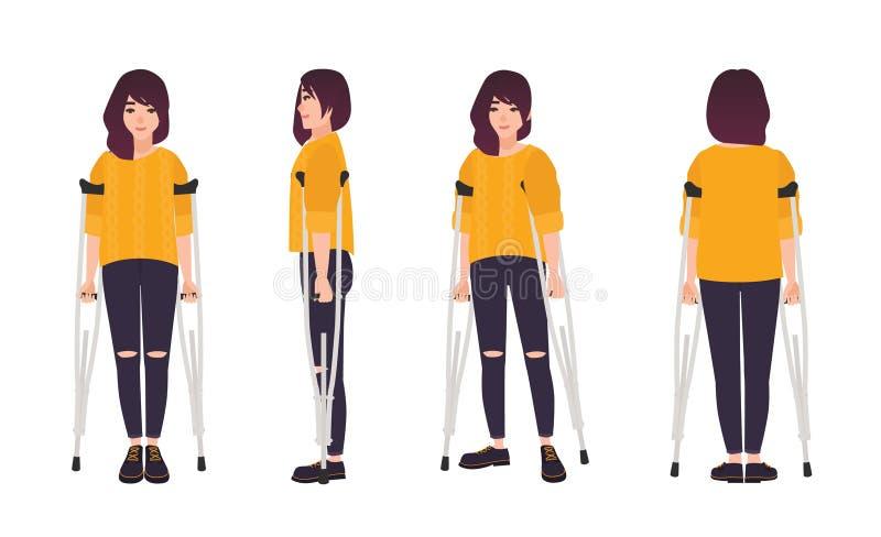 Condizione sorridente della giovane donna o camminare con le grucce Ragazza sveglia con mobilità limitata Personaggio dei cartoni illustrazione vettoriale
