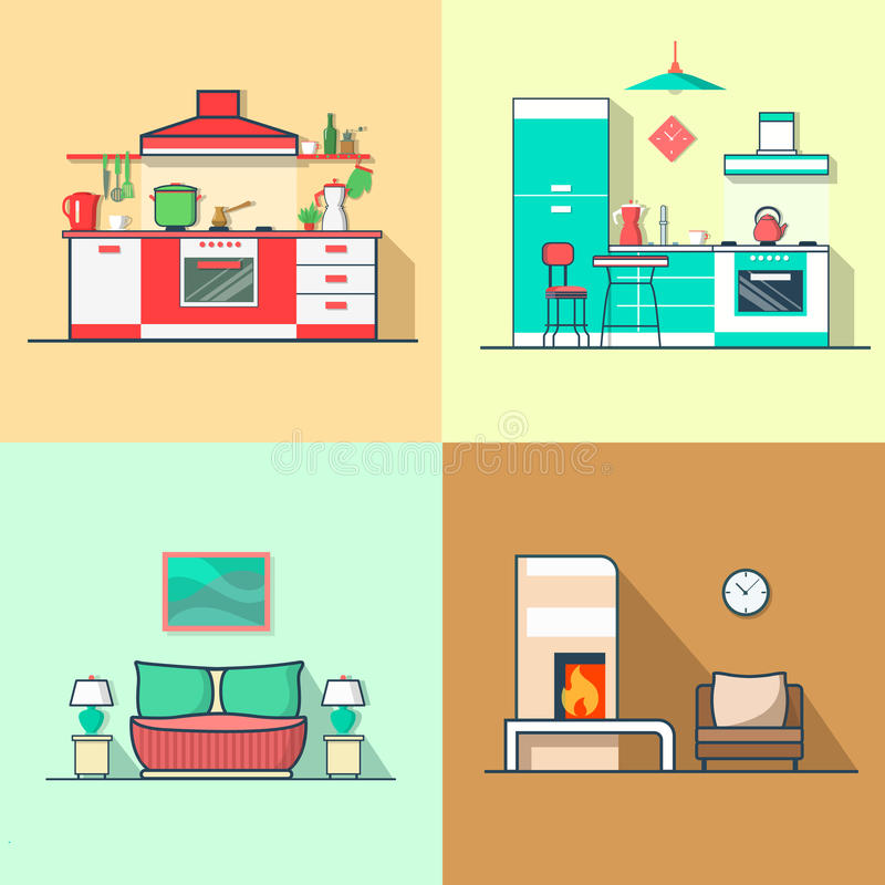 Condo accommodation kitchen bedroom living room in. Terior indoor set. Linear multicolor stroke outline flat style vector icons. Color icon collection royalty free illustration