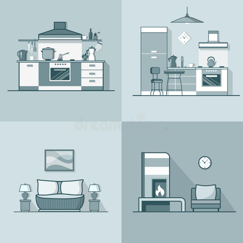 Condo accommodation kitchen bedroom living room in. Terior indoor set. Linear stroke outline flat style vector icons. Monochrome icon collection royalty free illustration