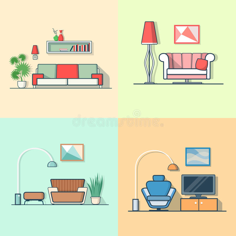 Condo accommodation living room cosy modern minima. Lism minimal interior indoor set. Linear multicolor stroke outline flat style vector icons. Color icon vector illustration