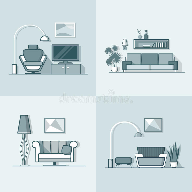 Condo accommodation living room cosy modern minima. Lism minimal interior indoor set. Linear stroke outline flat style vector icons. Monochrome icon collection royalty free illustration