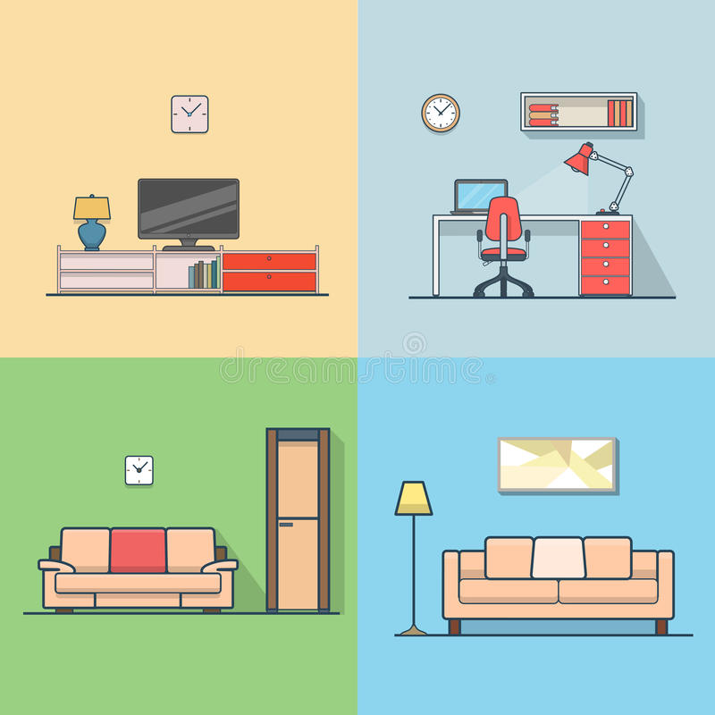 Condo accommodation living room cosy modern minima. Lism minimal interior indoor set. Linear stroke outline flat style vector icons. Color TV set cabinet shelf royalty free illustration