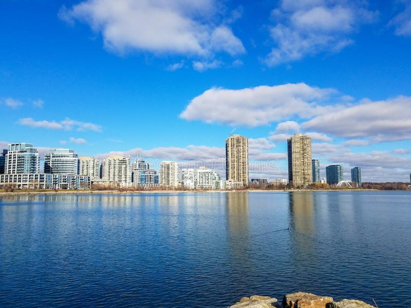 Condo building landscape view in Canada. Summer landscape view at condo buildings in Etobicoke, Canada stock image