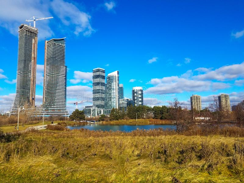 Condo building landscape view in Canada. Summer landscape view at condo buildings in Etobicoke, Canada stock images