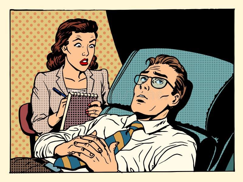 Condolencia masculina paciente femenina del psicólogo stock de ilustración