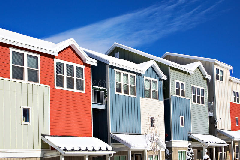 Condomínios coloridos, Park City, Utá imagem de stock royalty free
