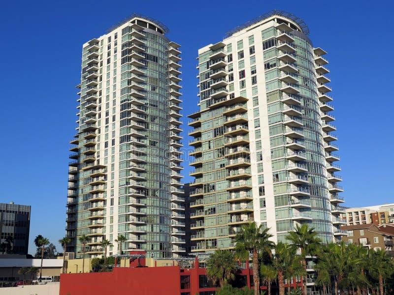 Condomínios ocidentais do oceano, Long Beach CA fotos de stock