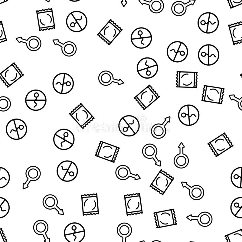 Condom Contraceptive Sex Seamless Pattern Vector. Sexshop Icon Texture Background With Male Symbol. Condom Sign For Love Shop Wrap Packaging. Fertility royalty free illustration