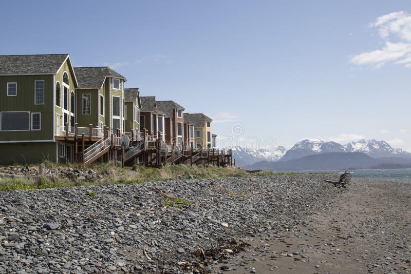 Condomini privati della località di soggiorno dell'estremità delle terre, Omero, Alaska immagine stock