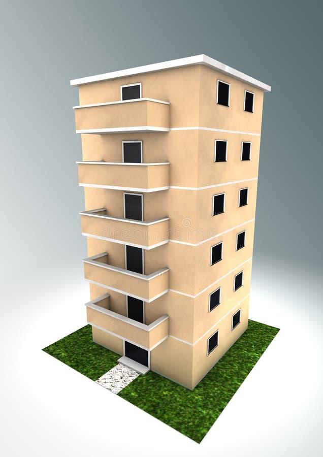 Condominium. Rendering of an isolated condominium vector illustration