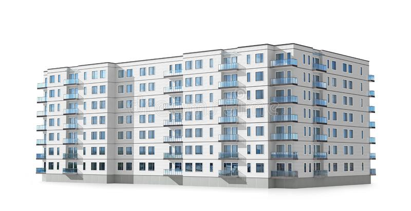 Condominium or apartment building isolated on white background royalty free illustration