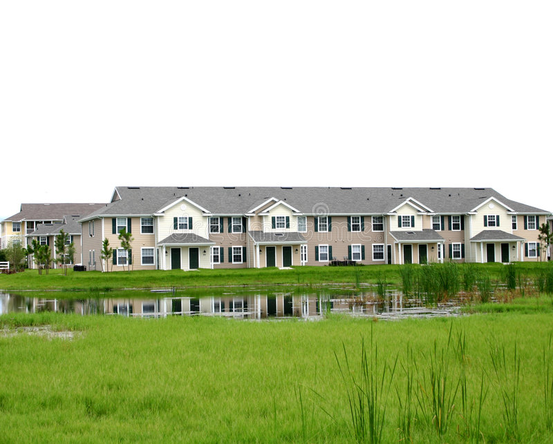 Condominium apartments near wetlands. New condominium apartments near wetlands that are attracted by waterfowl and native habitat in southwestern Florida stock photos