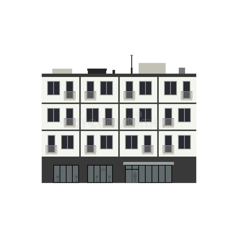 Condominium building. In flat style. Vector illustration of Apartment house royalty free illustration