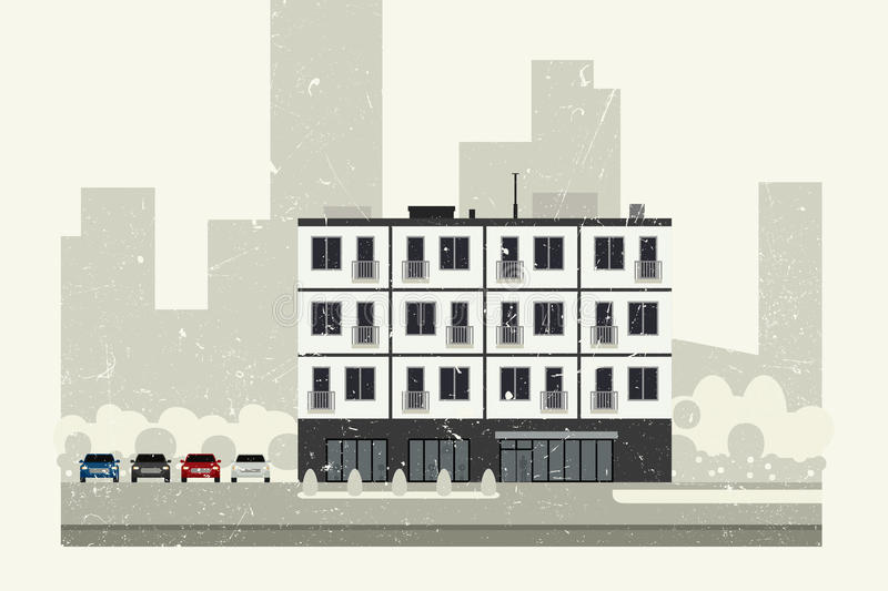 Condominium building. With grunge texture. Vector banner of apartment house vector illustration