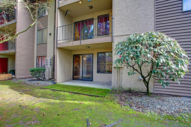 Condominium exterior in Bellevue, View of the balconies. That offer tranquil views of the backyard area royalty free stock image