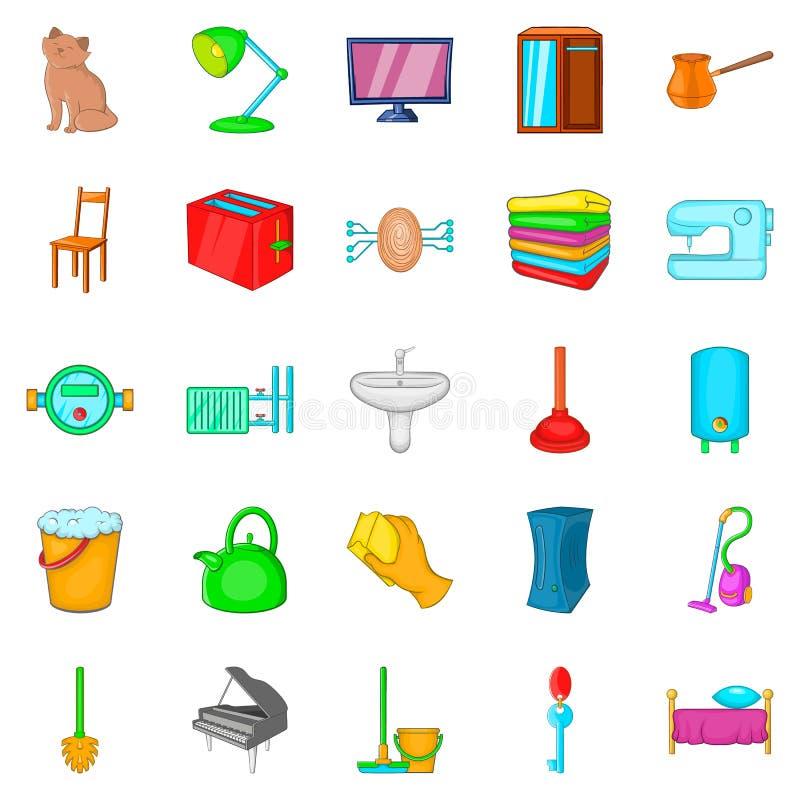 Condominium icons set, cartoon style. Condominium icons set. Cartoon set of 25 condominium vector icons for web isolated on white background stock illustration