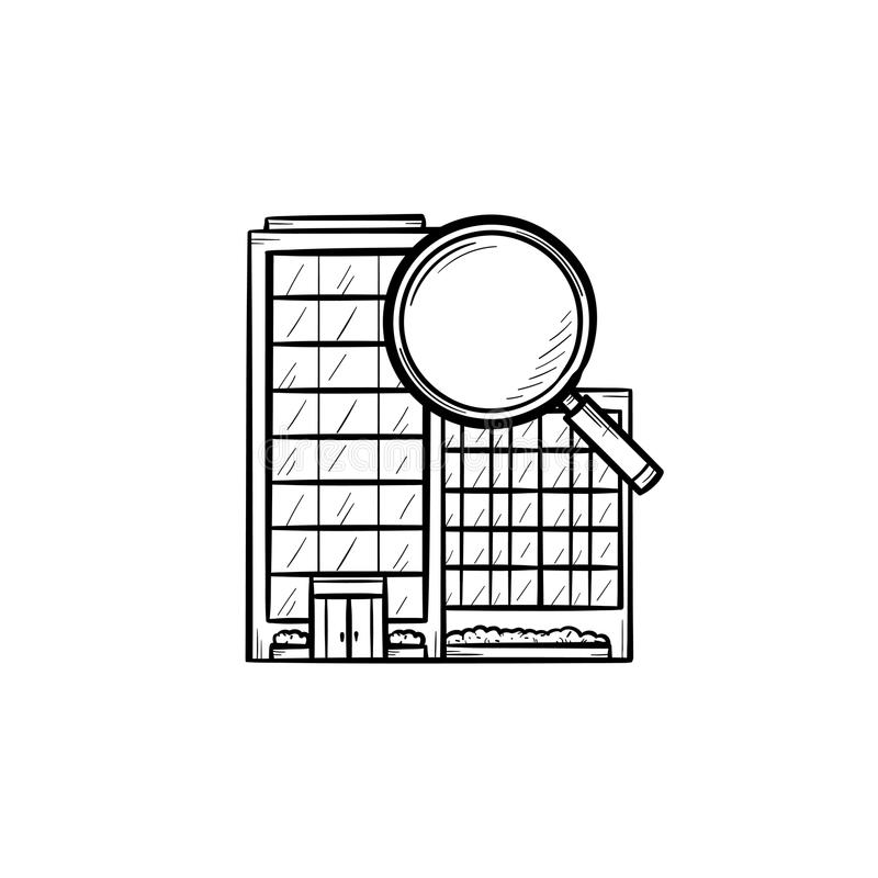 Condominium with magnifying glass hand drawn outline doodle icon. Real estate, house search and rent concept. Vector sketch illustration for print, web, mobile vector illustration
