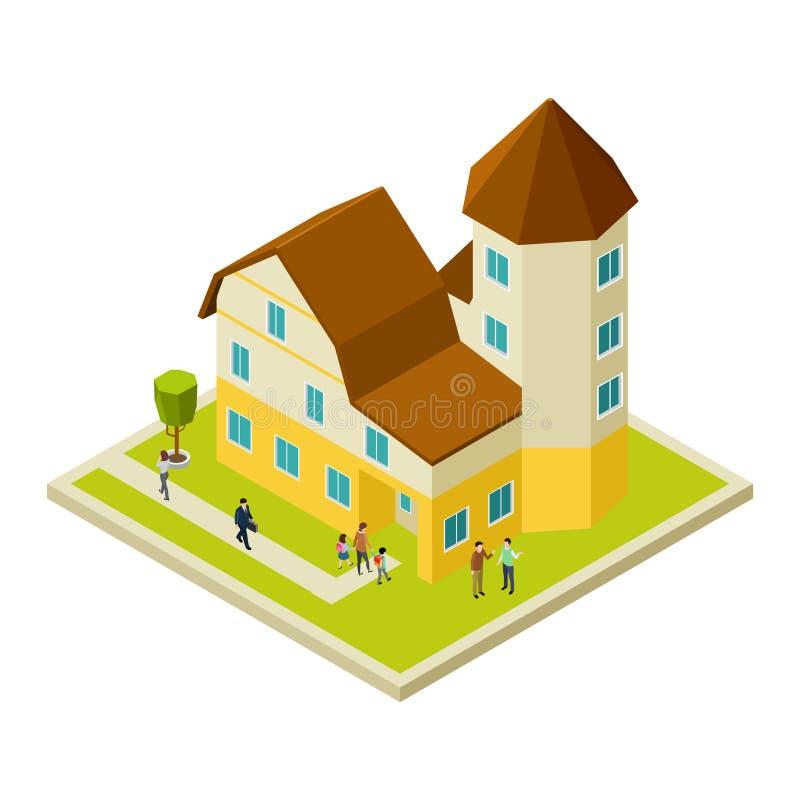 Condominium, maison de rapport isométrique et les gens, vecteur illustration de vecteur