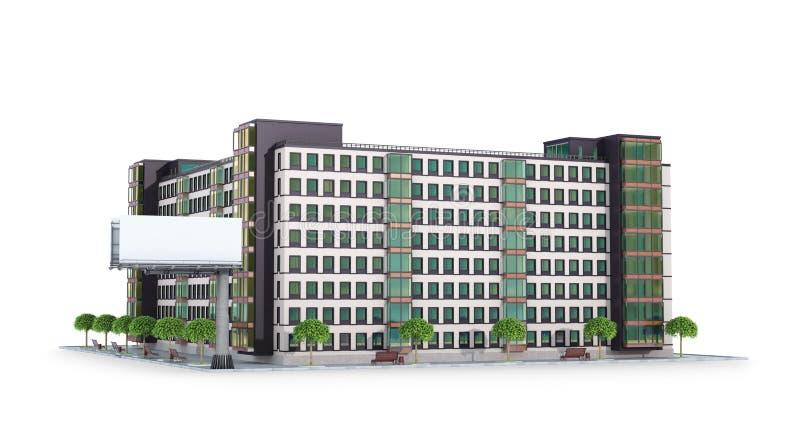 Condominium or modern residential building. Real estate development. Advertising billboard. 3d illustration stock illustration