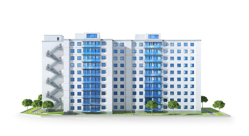 Condominium or modern residential building. Real estate development and the concept of urban growth royalty free illustration