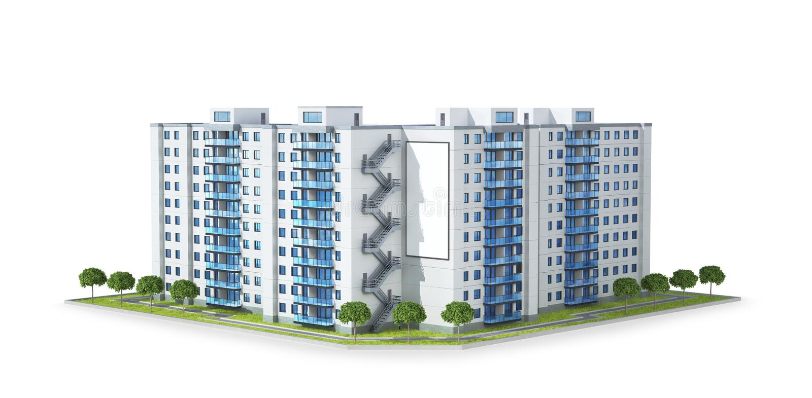 Condominium or modern residential building. Real estate development and the concept of urban growth. stock illustration