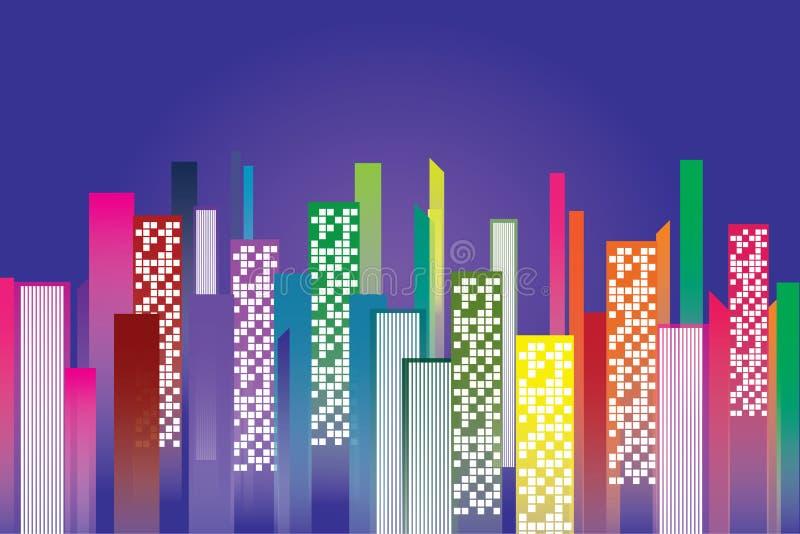 Condominium night city and copy space.  stock illustration
