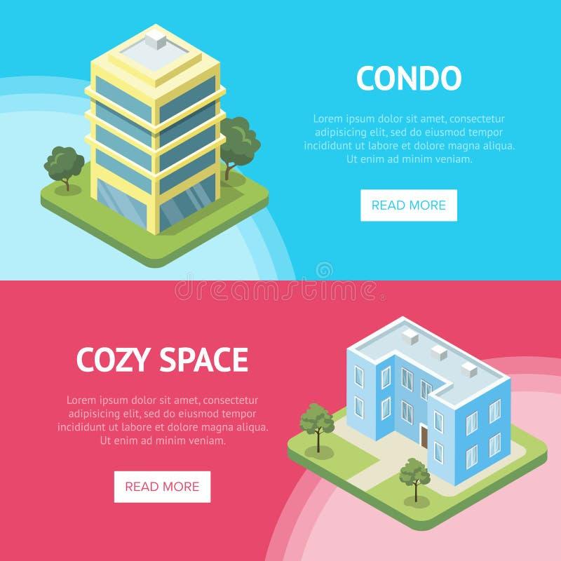 Condominium real estate in town flyers. Condominium real estate in town horizontal flyers. Cozy condo building quarter isometric vector illustration. City street vector illustration