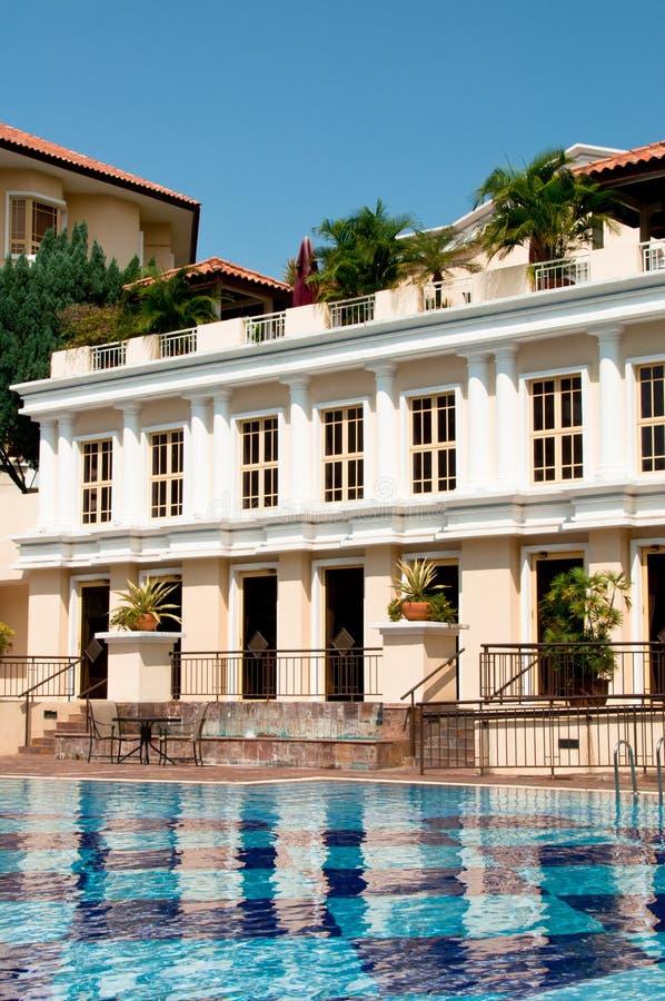 Condominium Swimming Pool. A luxurious condominium swimming pool and club house stock images