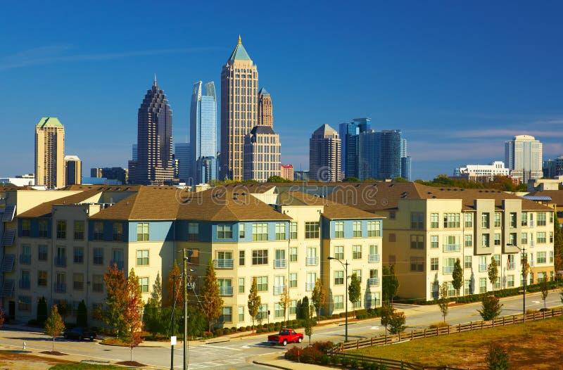 Condominiums against the midtown. Atlanta, GA stock image