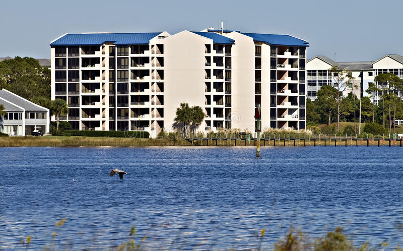 Condominiums Along the Shore of the Ocean royalty free stock image