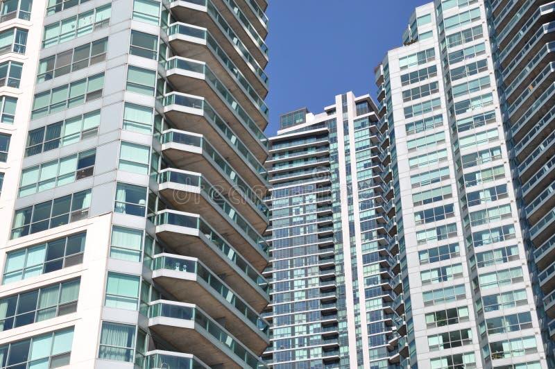 Condominiums. Exterior of a modern condominium buildings stock image