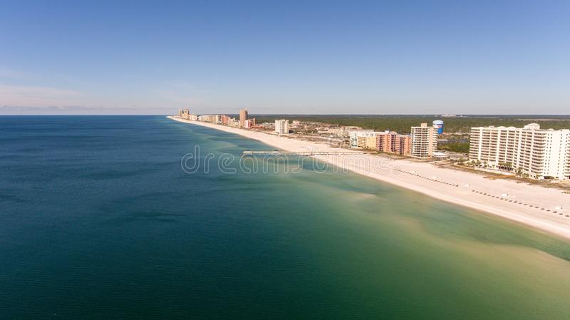 Condominiums in Orange Beach, Alabama. Aerial view of Orange Beach, Alabama on the Alabama Gulf Coast royalty free stock photography