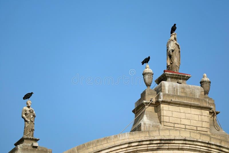 Condores que relaxam na parte superior de esculturas lindos da construção do vintage, Plaza de Prefeito em Lima, Peru imagens de stock