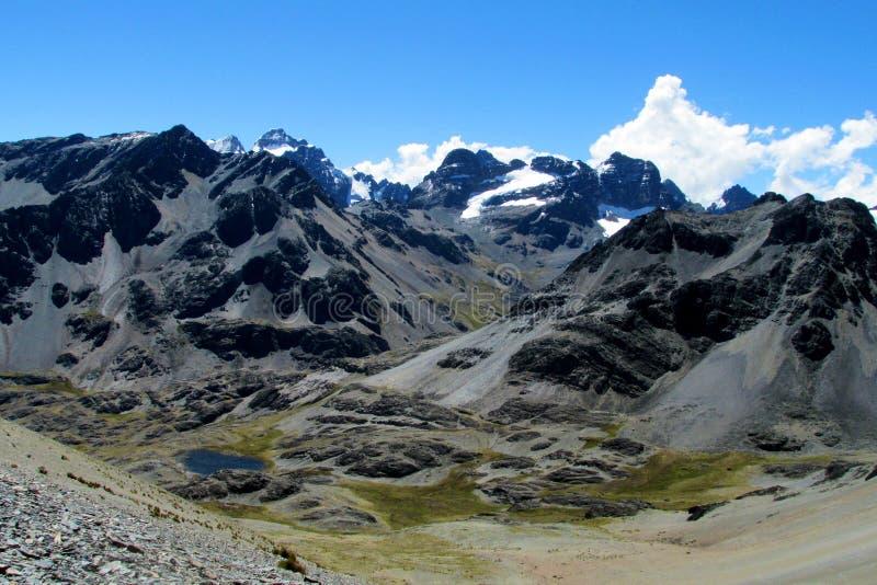 Condoriri mountains, Andes, Bolivia. Bolivia Andes Huayna Condoriri, snow covered mountain summit. Gray rock summit in Bolivian Andes near La Paz. Beautiful stock images